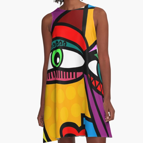 Funky Lady Abstract Style Art Face A-Line Dress