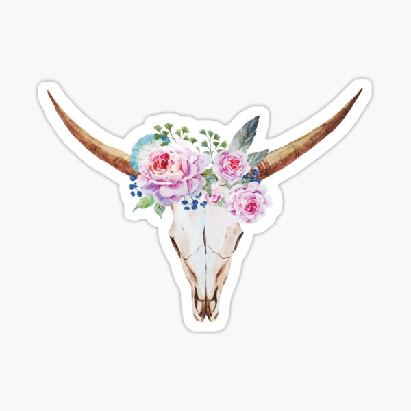 Boho skull with roses Sticker
