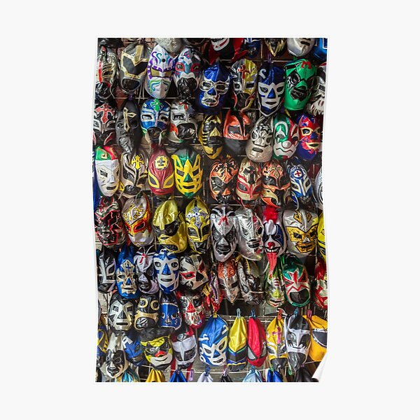 Colorful Mexican Lucha Libre Wrestling Masks Poster