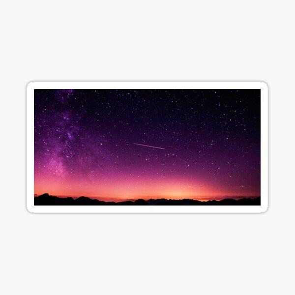 Art Inspired by Nature Art, Illustration, purple, stars, mountain, Landscape, beautiful nature Sticker