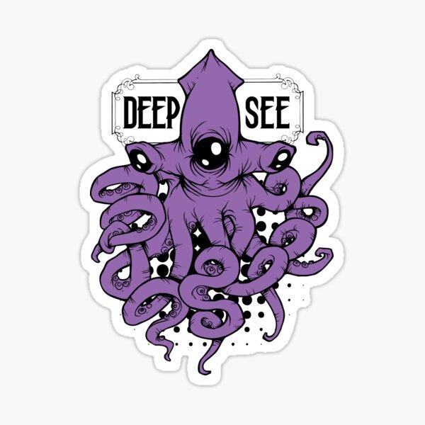 Deep See Monster Hammerhead Kraken Urban Art Design Glossy Sticker