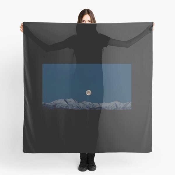 Art Inspired by Nature Art, Illustration, Blue, Sky, Landscape, Mountain, Moon, beautiful nature Scarf