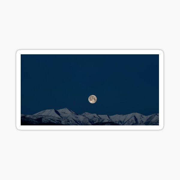 Art Inspired by Nature Art, Illustration, Blue, Sky, Landscape, Mountain, Moon, beautiful nature Sticker