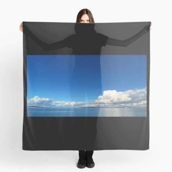 Art Inspired by Nature Art, Illustration, blue, Sky, Landscape, clouds, ocean, sea, beautiful nature Scarf
