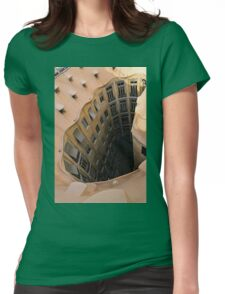 The Lost Straw Hat - Antoni Gaudi La Pedrera Courtyard From Above - Vertical Womens Fitted T-Shirt