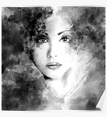 Beautiful woman face. Abstract fashion illustration Poster