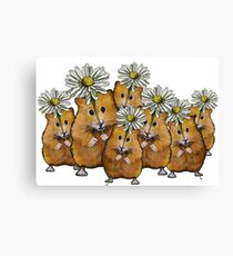 Hamster Group with Daisies, Cute, Whimsical Art Canvas Print