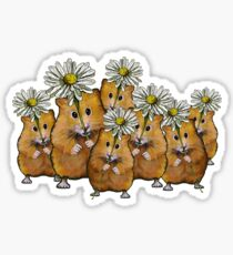 Hamster Group with Daisies, Cute, Whimsical Art Sticker