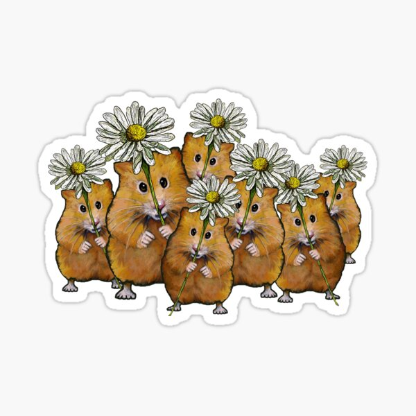 Hamster Group with Daisies, Cute Animals, Whimsical Art, Flowers,  Sticker