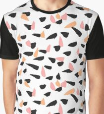 Black, Pink and Orange Brush Strokes Graphic T-Shirt