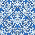 Blue and White Damask Pattern by cinn