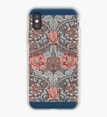 William Morris Blumenmuster in Rot und Blau iPhone-Hülle & Cover