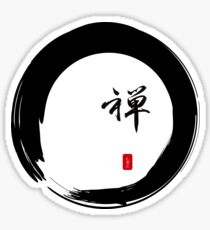"""""""Zen"""" calligraphy & Enso circle of enlightenment Sticker"""