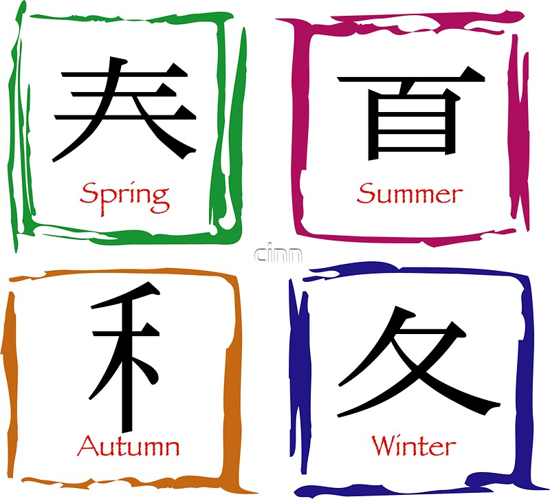 Four Seasons Symbols Stickers By Cinn Redbubble