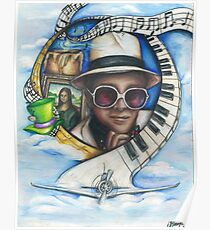 Elton John Piano Man Art Poster