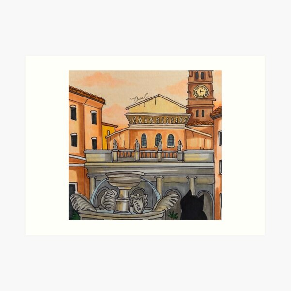 Journal of a Cat in Rome - Sunset in the Piazza Art Print