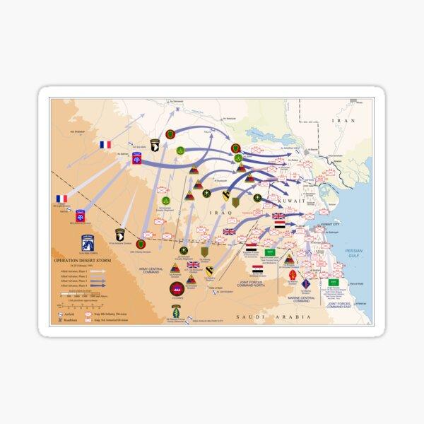 Operation Desert Storm Ground Map (Feb 24-28 1991) Sticker