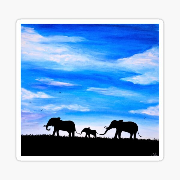 Famille d'éléphants Sticker