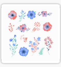 Floral Set of Beautiful Flowers and Leaves. Design elements for decoration Sticker