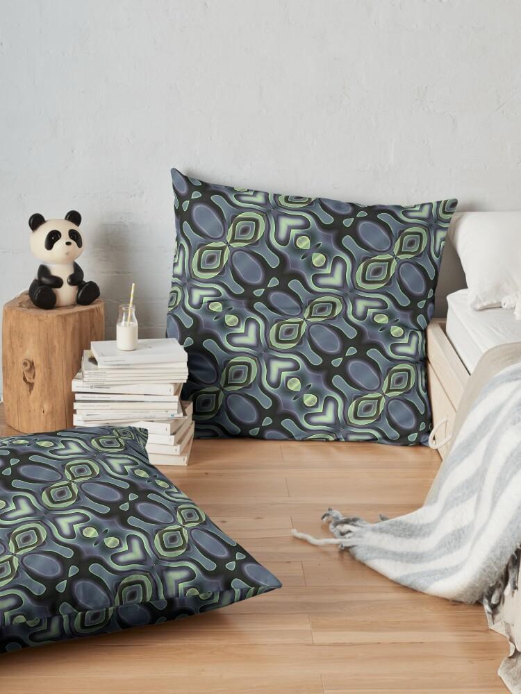 Alternate view of Modern Geometric Green Grey Pattern Design 1563 Floor Pillow