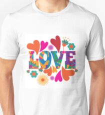 Sixties style mod pop art psychedelic colorful Love text design. T-Shirt