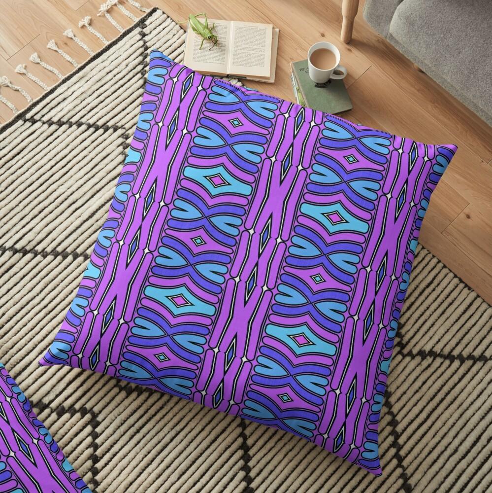 Modern Geometric Pattern Blue Purple Design 1347 Floor Pillow