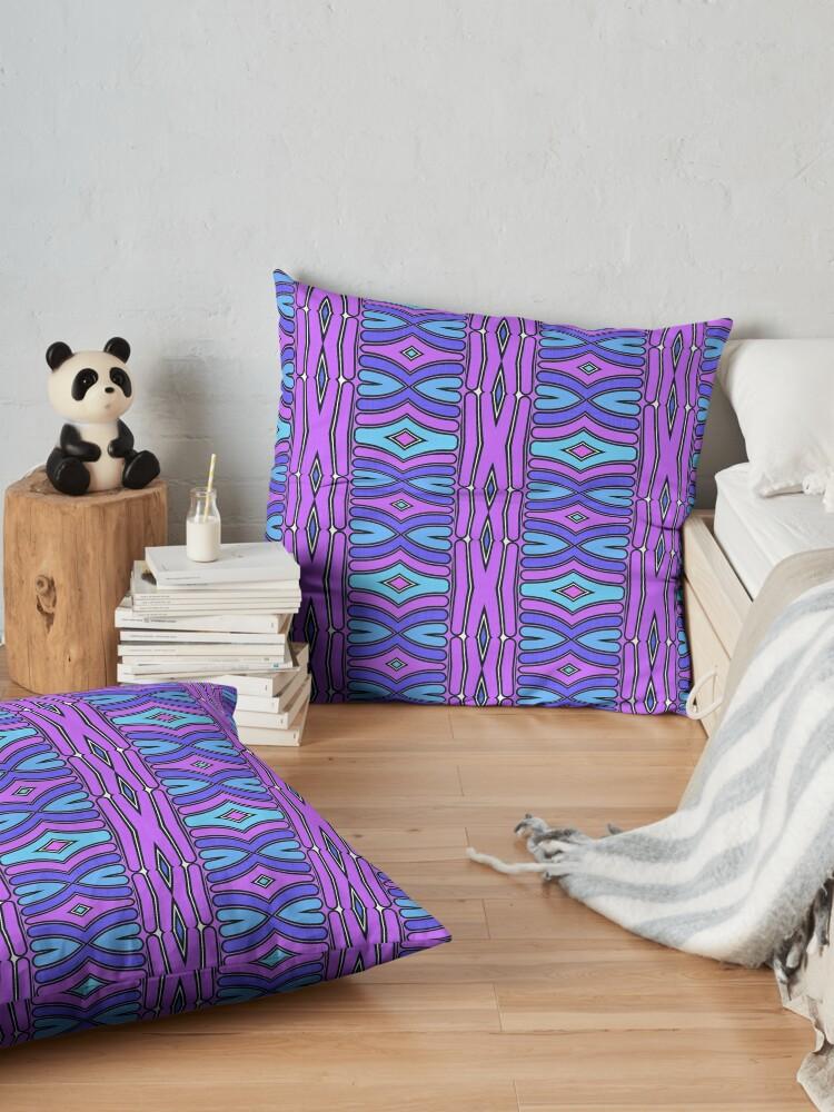 Alternate view of Modern Geometric Pattern Blue Purple Design 1347 Floor Pillow