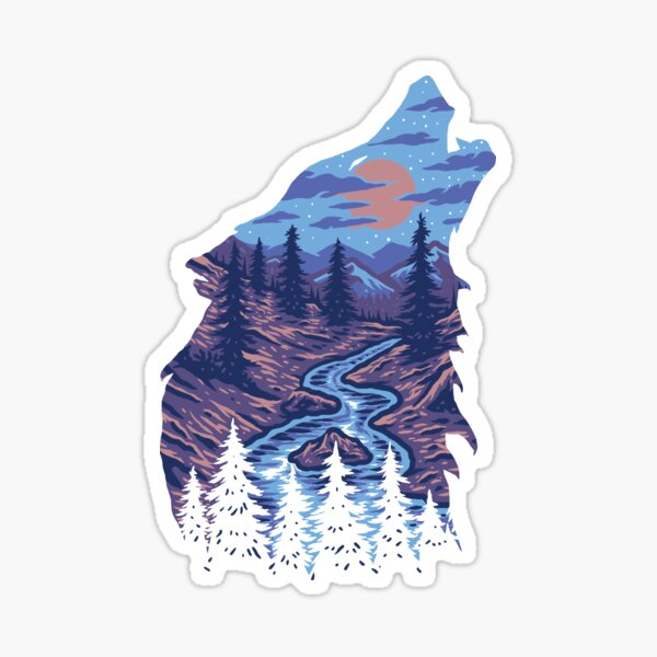Howling Wolf With Mystic River Canyons Sticker