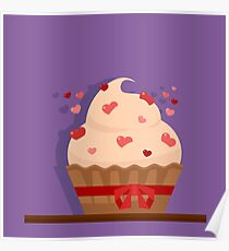 Happy Valentine's Day Greeting Cards. Air Baloon, Present with Love, Cupcake and Whale. Illustration in flat style Poster