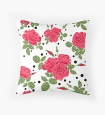 Seamless flowers of red roses pattern with black dots, circles on white background Throw Pillow