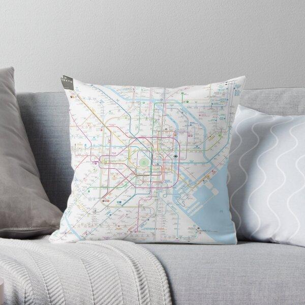 Tokyo Metro Map Throw Pillow