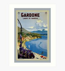 Vintage Gardone Lake Garda Italian travel Art Print