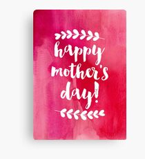 Happy Mother's Day   Pink Watercolor Canvas Print