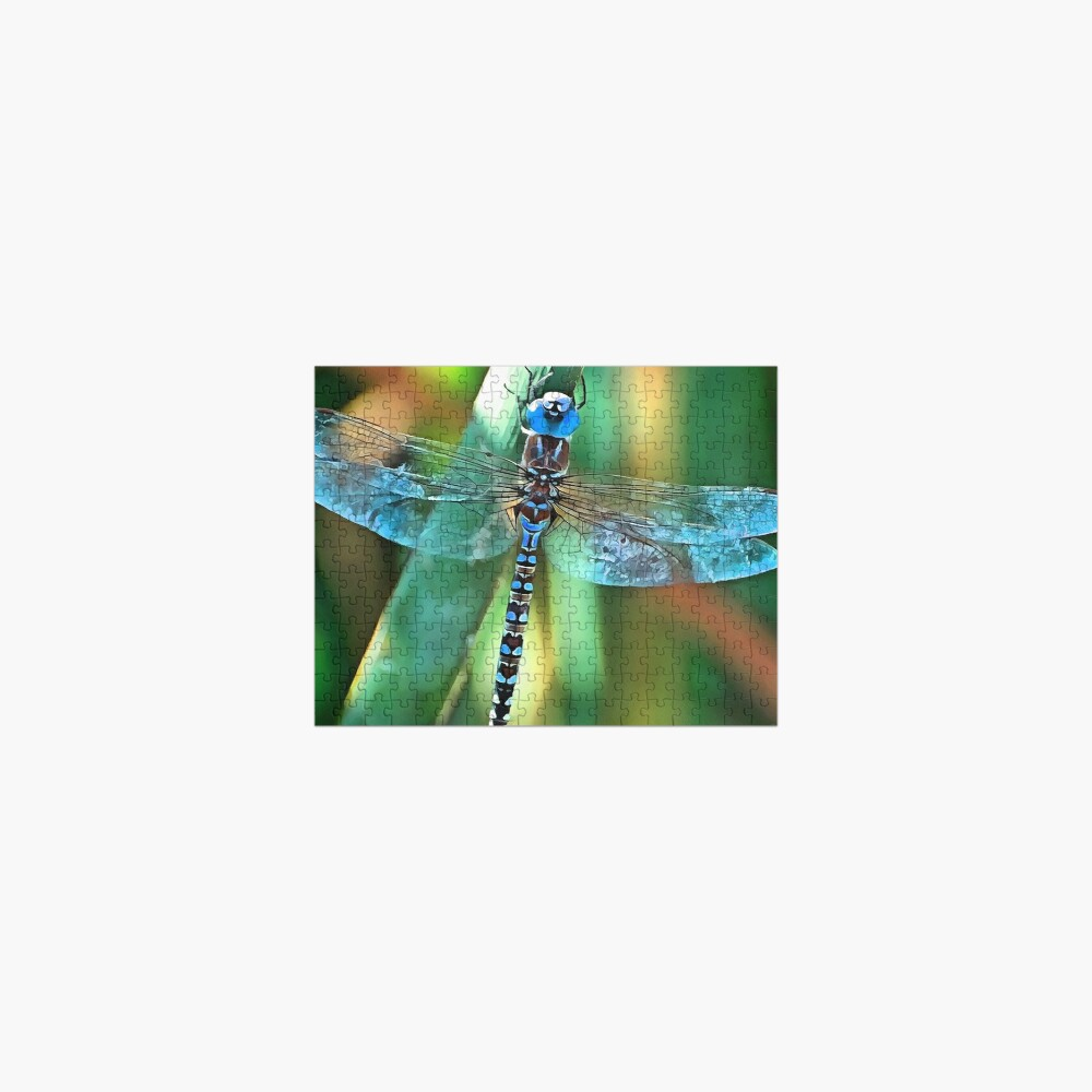 Fantasy Dragonfly In Turquoise and Black Jigsaw Puzzle