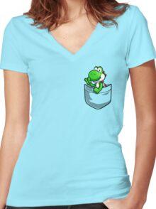 Pocket Yoshi Women's Fitted V-Neck T-Shirt