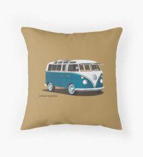 Hippie 21 Window VW Bus Samba Tuerkis Throw Pillow