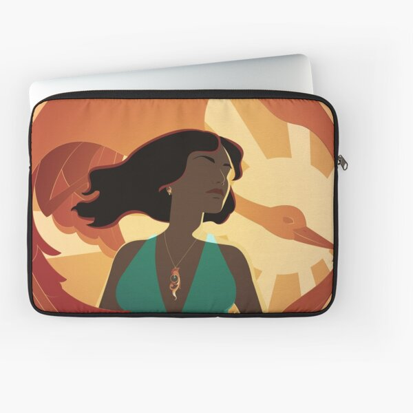 woman in bikini at sunset with a golden giant bird Laptop Sleeve