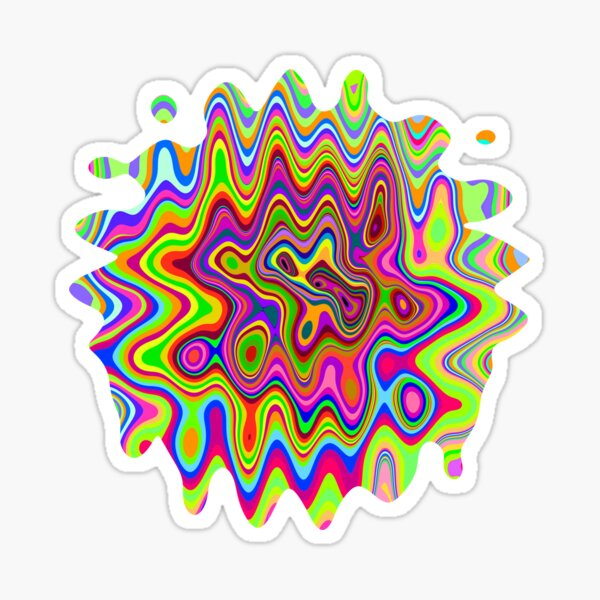 Psychedelic Glowing Colors Pattern Sticker