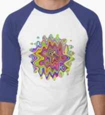 Psychedelic Glowing Colors Pattern Baseball ¾ Sleeve T-Shirt