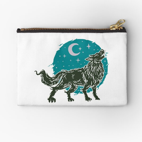 Sacred Oriental Wolf Howling at the Moon and Stars Zipper Pouch