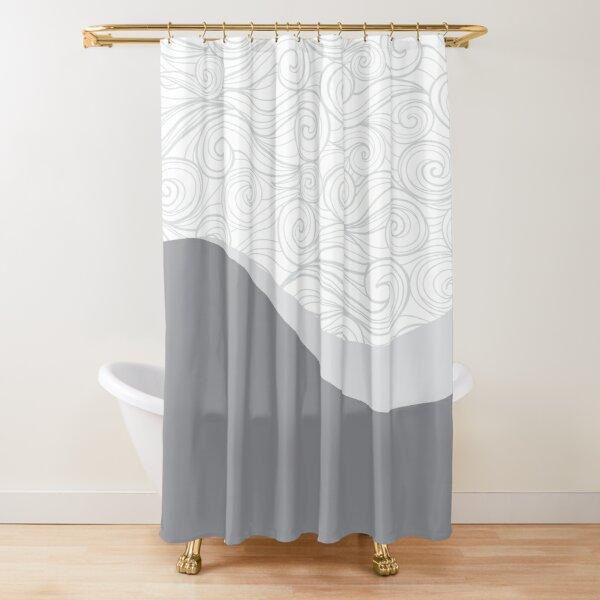 Grey Shower Curtain Boat on Lake Nature Print for Bathroom