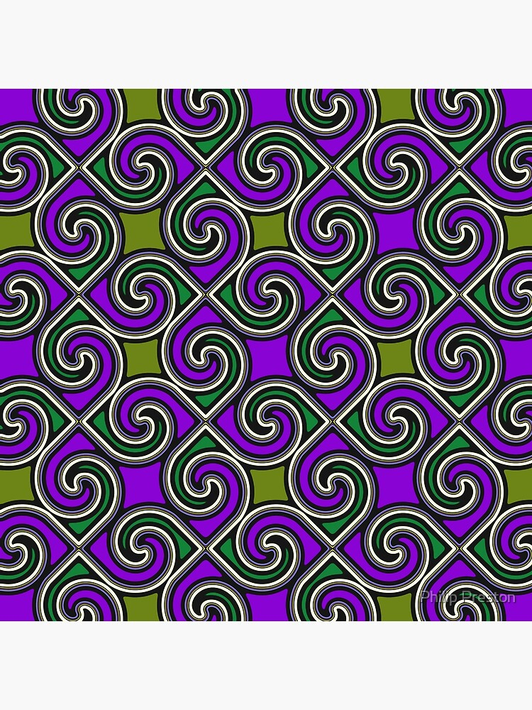Modern Geometric Decorative Purple Green Pattern Design 621 by prestonphoto