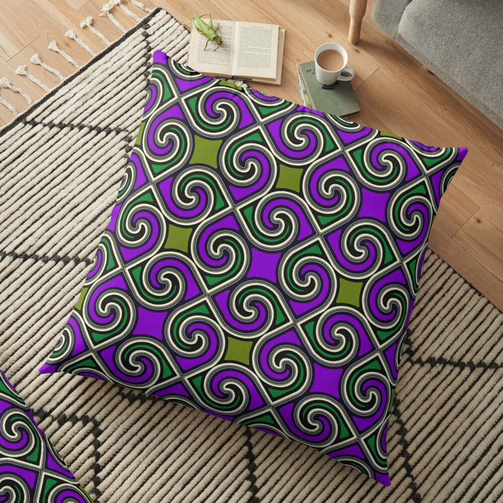 Modern Geometric Decorative Purple Green Pattern Design 621 Floor Pillow