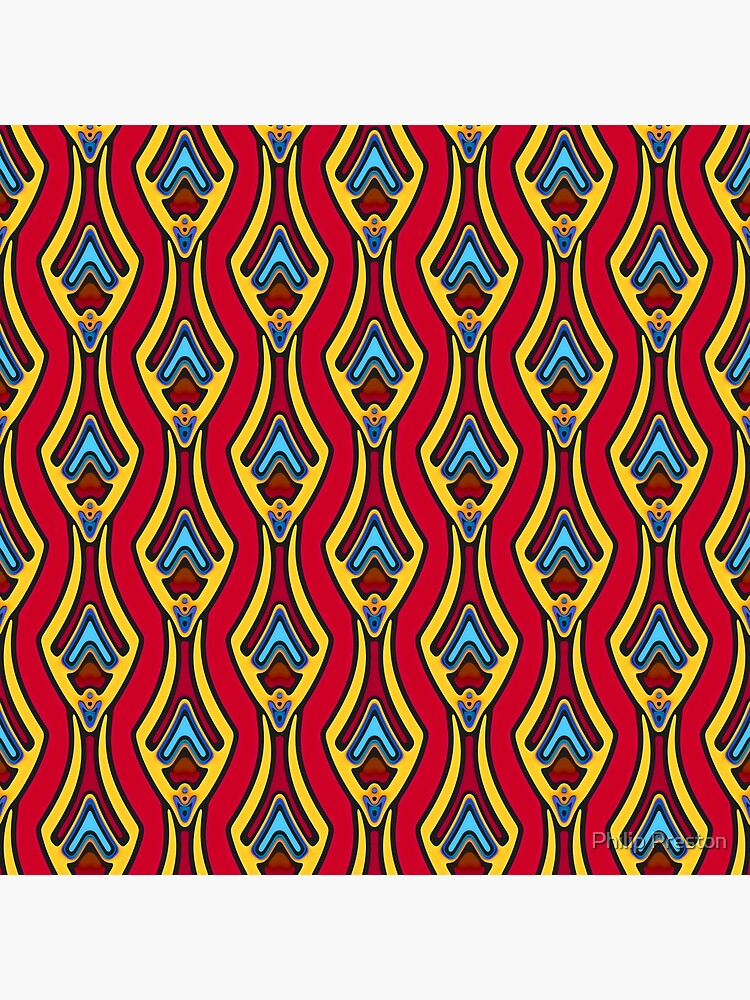 Modern Abstract Orange Yellow Blue Pattern Design 997 by prestonphoto