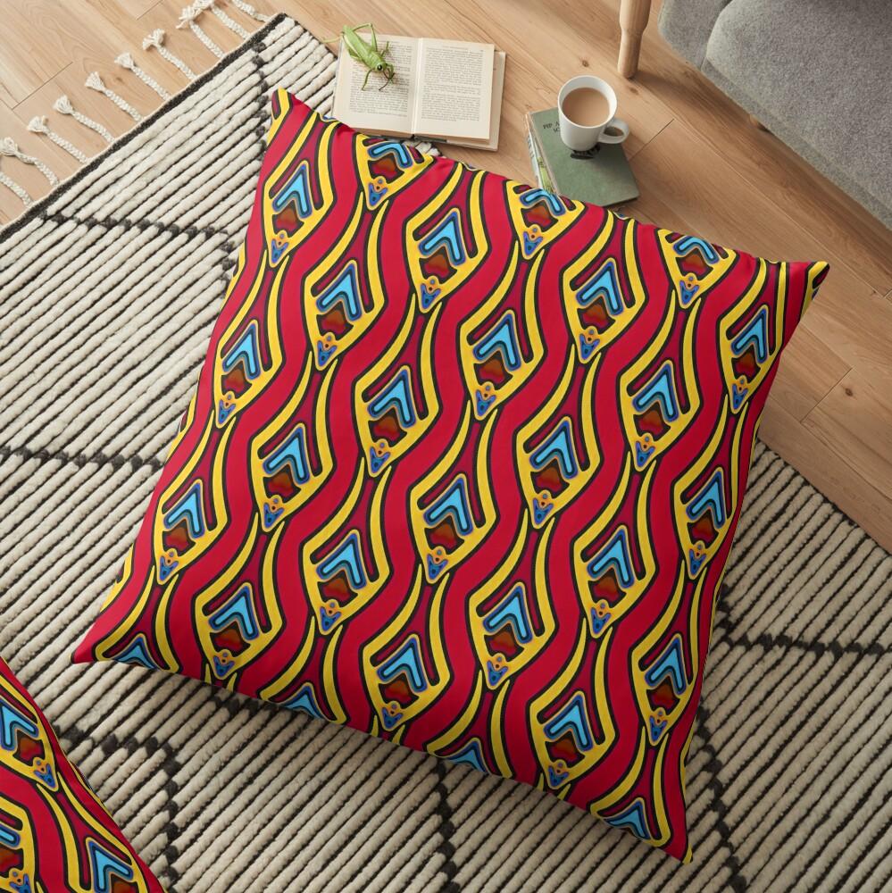 Modern Abstract Orange Yellow Blue Pattern Design 997 Floor Pillow