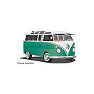 21 Window VW Bus Samba Bus Green by Frank Schuster