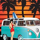 21 Window VW Bus Samba Bus with Palmes Surfboard and Girl XL by Frank Schuster