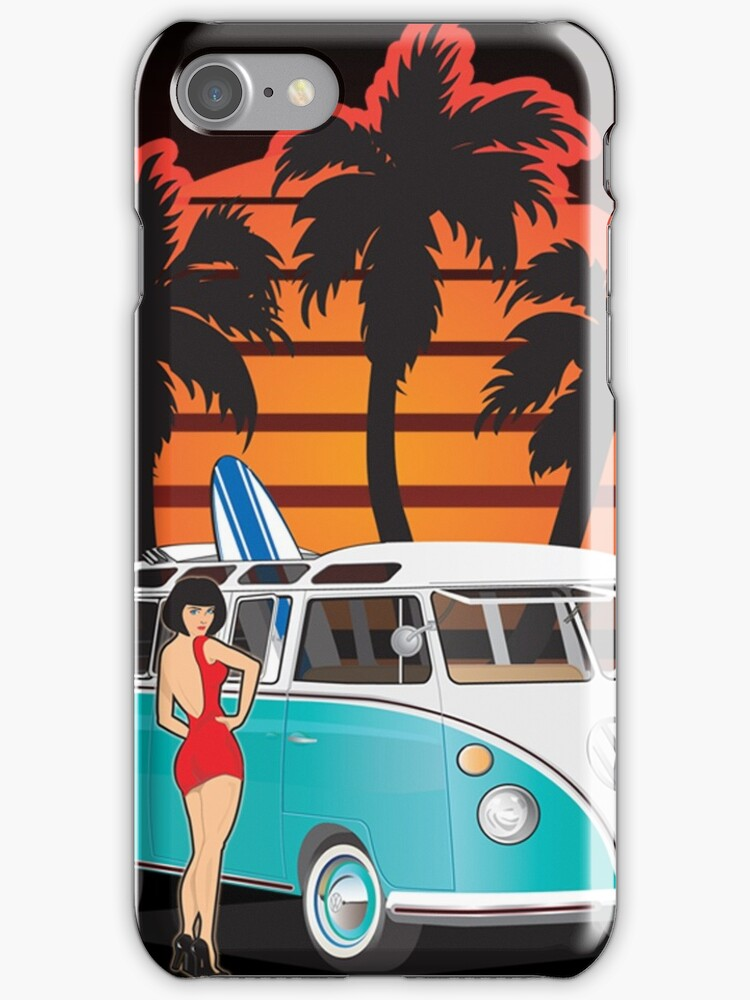 21 Window VW Bus with Palms and Girl Large by Frank Schuster