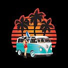 21 Window VW Bus Teal Samba Bus with Girl by Frank Schuster