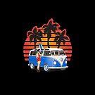 21 Window VW Bus Blue with Girl and Surfboard by Frank Schuster